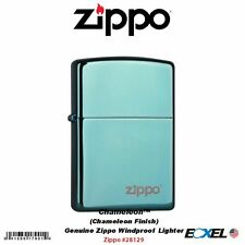 Zippo #28129ZL Logo Chameleon Lighter, Green/Blue Finish, Windproof