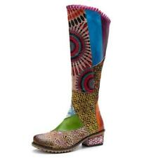 Women Round Toe Knee High Boots Low Heels Chinese Style Floral Winter Long Shoes