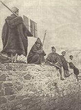 A1196 Marocco - Sentinelle sulle mura di Tangeri - Stampa Antica del 1905