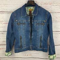 Anthropologie Louie Womens sz 10 Blue Jean Jacket Denim Blazer Cuff Design