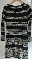 Monsoon black & white nordic style long sleeved sweater dress size