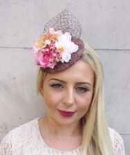 Peach Pink Brown Rose Net Flower Fascinator Pillbox Hat Races Hair Clip Vtg 3735