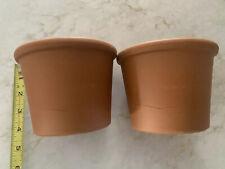 Lot 2 Deroma Terra Cotta Flower Pot Planters Italy Nos Unused Modern Sleek