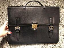 WATHNE Navy Blue Leather Briefcase Attache Bag