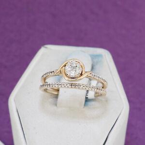 10K Yellow Gold Ladies Small Round Diamond Cluster Wedding Bridal Set Size 7.00