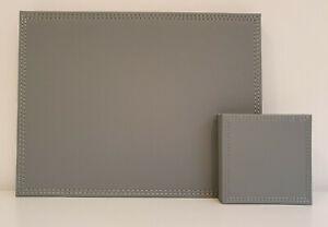 16 Piece Grey Faux Leather Leatherette 8 X Placemats & 8 X Coasters Set NEW