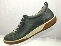 Ecco Comfort Sneakers Black Leather Breathable Casual Shoes Womens Sz 40 US 9.5