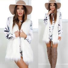 Warm Outwear Women Sleeveless White Slim Vest Faux Fur Waistcoat Jacket Coat S