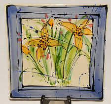 "GIEN - France - Colorful 12"" Floral Painting Square Platter / Cake Plate"