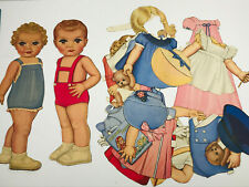 """Vintage 40s 50s 12"""" Paper Doll LOT cut out baby Boy Girl w/ Clothes Accessories"""
