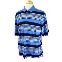 Polo Golf Men's Ralph Lauren Short Sleeve Cotton Blue Stripe Polo Shirt Large