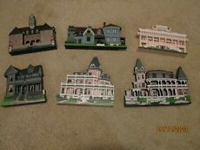 Lot of Six Vintage Shelia's Collectible Historical Wooden Houses