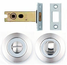 Satin/Chrome Dual Finish Bathroom Turn Release +64mm Deadbolt Toilet Door Lock