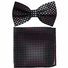 New Men's Pre-tied Bow tie & hankie set Formal bridal groom Black pink checkers