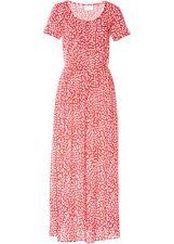 Midikleid Gr 44 rot weiß bedruckt langes Kleid leichtes Sommerkleid lässig neu