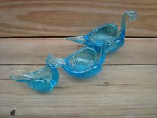 Complete Set of 3 Vintage Aqua Blue Glass Nesting Swans Made in Italy
