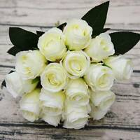 18 Heads Artificial Real Touch Rose Flower Bouquet Silk Wedding Home Party US