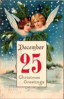 Vintage 1904 Girl Angels, Snow, December 25, Greetings Merry Christmas Postcard