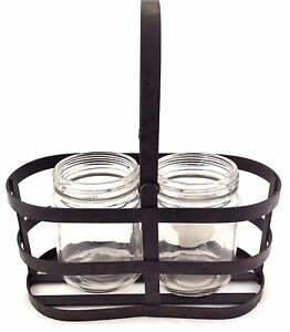Country Style Metal Basket With 2 Small Glass Bottles