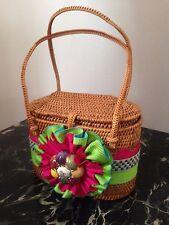 Mackenzie Childs posie HandBag Purse Tote Wicker Multi Color Shoulder Bag RARE