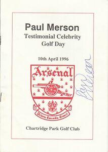 Paul Merson (Arsenal) Signed Testimonial Golf Programme 1996
