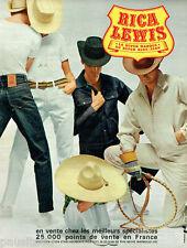 PUBLICITE ADVERTISING 115  1966   les jeans pret à porter homme RICA LEWIS