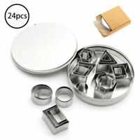 24pcs Cookie Cutters Nesting Stainless Steel Geometric Shapes Cutters with Box