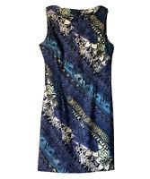Connected Apparel Women's Size 12 Sheath Dress Black Blue Stretches Sleeveless