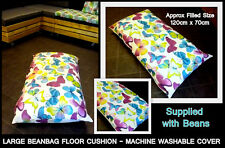 LARGE BUTTERFLIES BEAN BAG FLOOR CUSHION - ZIPPED REMOVABLE WASHABLE OUTER COVER