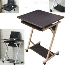 Wood Rolling Laptop Desk Mobile Cart Portable Stand Computer Table Notebook NEW