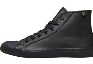 Mens Lyle And Scott Hi-Top Trainers Vintage Lace Up Leather Luggie Trainer Shoes