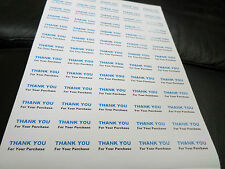 65 X THANK YOU FOR YOUR PURCHASE  SELF ADHESIVE    SMALL STICKERS ON A4