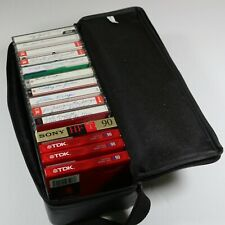 15 Cassette Tape Storage Case Zipper Faux Leather with 14 New/Used Blank Tapes