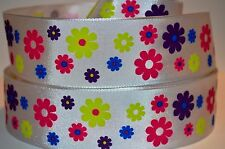 """1 YD 1.5"""" SATIN RIBBON  MULTI COLOR DAISY FLOWER PRINTED ON WHITE."""