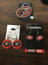 UNIVERSITY of GEORGIA BULLDOGS  - 2 Pair Earrings And Pendant