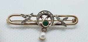 Art Deco Brosche 585 14K Gold  Gelbgold  Diamanten Perle Smaragd  ca.5,08gr