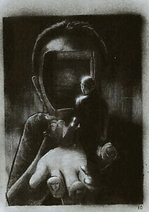 Inside out ,Original Concept Drawing Surrealism Art Black and White on paper A4