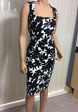Laura Ashley Fully Lined Dress Size 8 Black/White Flora Print Pencil Dress