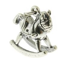 925 Sterling Silver Rocking Horse Childs Toy Charm Made in USA