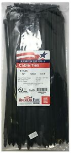 """(100) Black 12"""" Inch Nylon Heavy Duty Cable Wire Wrap Zip Ties 120 LBS USA MADE"""