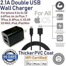 Extra Durable 6ft Long USB Cable Power Cord + CUBE Wall Charger for iPhone XS,XR