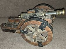Replica 18th Century Cannon Spanish Navy Brass Barrel Wooden Carriage