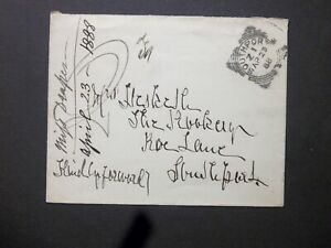 "GB Lancashire 1888 QV unstamped Envelope SOUTHPORT Squared Circle ""2d"" Charge"
