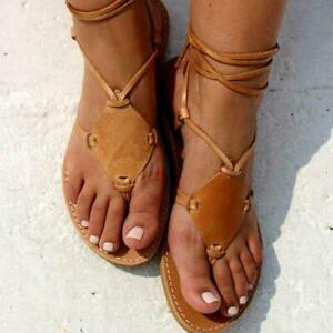 Womens Chic Lace Up Flat Heels Flip-Flop Summer Sandals Open Toe Beach Casual