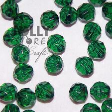 6mm Christmas Tree Green Faceted Acrylic Beads 500 piece bag
