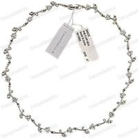 RRP $32 flower vine RHINESTONE crystal choker NECKLACE white gold pl silver tone