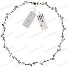 Flower Vine Rhinestone Crystal Choker Necklace White Gold PL Silver Tone