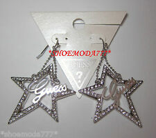 GUESS Exclusive Large Lasercut Logo Star Earrings Rhinestones Gift Pouch Silver