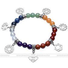 Womens Fashion 7 Chakra Gemstone Bead Silvery Dangle Charm Bracelet Bangle-Nj