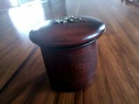 ANTIQUE BOX ROUND WOODEN woodenware LATE 1800s with brass decoration